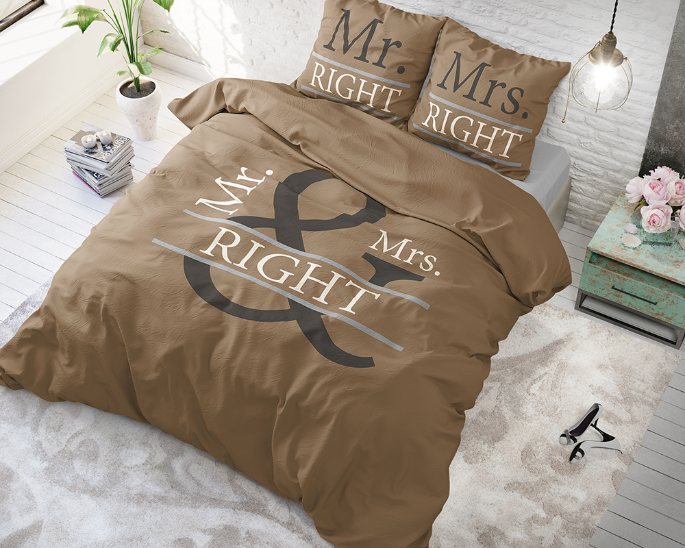 Mr and Mrs Right 2 Taupe voodipesu komplekt 200 x 220